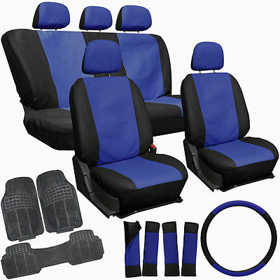 Car Accessories 20pc Faux Leather Blue Black TRUCK Seat Cover + Heavy Duty Rubber Floor Mat 2C