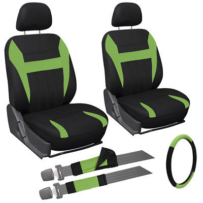 Car Accessories 9 Piece Green & Black Front Car Seat Cover Set Bucket Chairs w/Steering Wheel