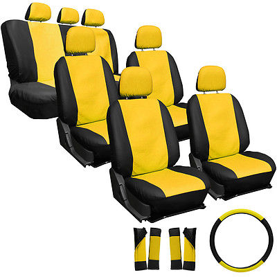 Car Accessories 23pc Full Set Yellow Black Auto SUV Seat Covers Bucket Bench Wheel Head Belt Pad