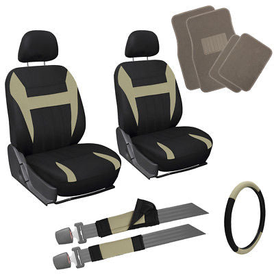 Car Accessories 13pc Tan Black Front Bucket SUV Seat Covers Set Wheel Belt Beige Floor Mats 3C