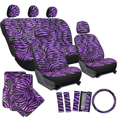 Car Accessories 21pc Set Zebra Print Purple Car Seat Covers/Floor Mats/Wheel/Belt Pad/Head Rests