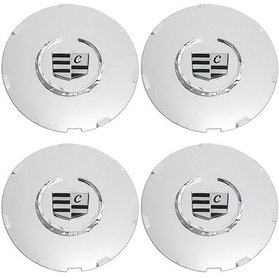 Car Accessories 4 Pc Set Caddy CTS 7 Spoke Chrome Lux Logo Center Caps Wheels Pop In Cover