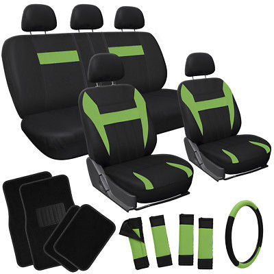 Car Accessories 20pc Set Green Black SUV Seat Cover Steering Wheel Cover + Black Floor Mats 3B