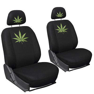 Car Accessories Car Seat Covers for Dodge Charger Weed Marijuana Leaf Plant Embroidered Bucket