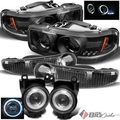 For 00-06 Sierra/Yukon Denali Blk Halo Projector Headlights Set + Pro Fog Lights