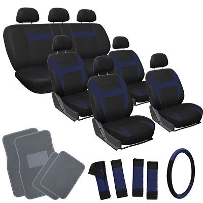 Car Accessories 26pc Complete Navy Blue Black SUV Auto Seat Cover Set with Gray Carpet Floor Mat