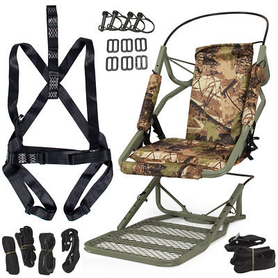 Portable Tree Stand Climber Climbing Hunting Deer Rifle Bow Game Hunt + Harness