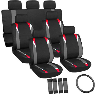 Car Accessories 23pc Set Red Gray Black Van Seat Covers and Steering Wheel-Belt Pad-Head Rests