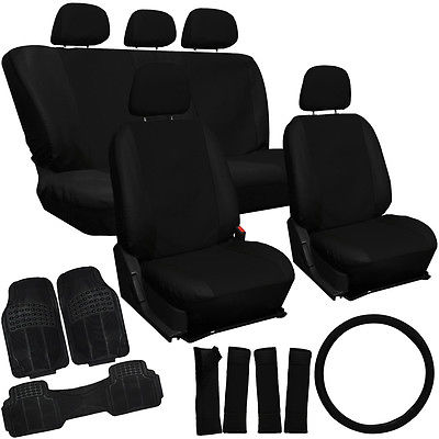 Car Accessories 21pc PU Faux Leather Black AUTO Seat Cover Set Heavy Duty Rubber Floor Mats