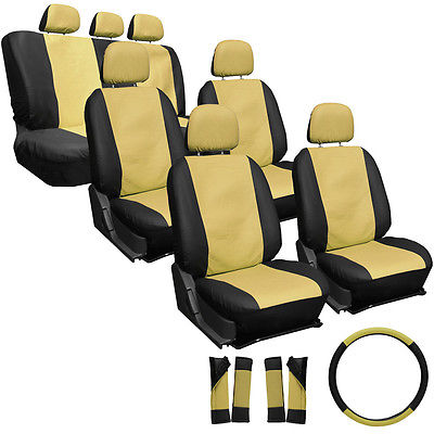 Car Accessories 23pc Full Set Tan Beige Black Auto SUV Seat Covers Buckets Bench Wheel Head Belt