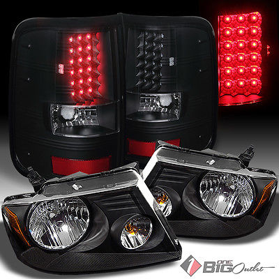For 04-08 F150 LOBO Styleside Black Headlights + LED Tail Lights w/ LED Signal
