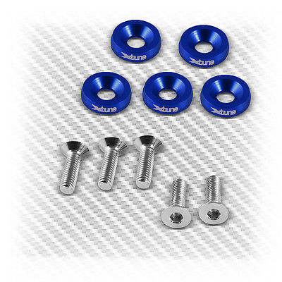 Aluminum Light Weight Blue Sport Racing Fender Washers+Screws 5Pcs (M6X20) Set