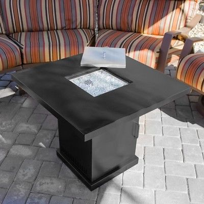 Mini Firepit Table with Cover Burner Outdoor Propane Heater 40,000btu, Black