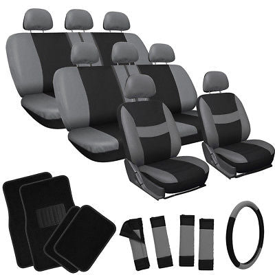 Car Accessories 25pc Complete Set Gray Black SUV Seat Covers Wheel + Belt Pads + Floor Mats 3C