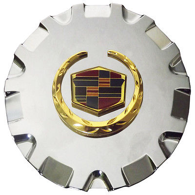 "Car Accessories 1 Piece Caddy SRX 17"" Gold Rev Logo Center Caps Wheels Pop In Hub Cover"