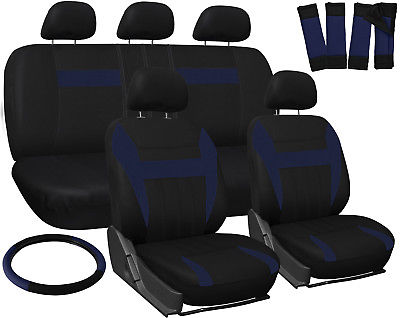 Car Accessories SUV Seat Covers for Toyota Rav4 Blue Black w/ Steering Wheel/Belt Pad/Head Rests