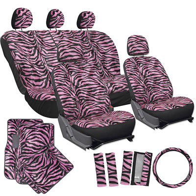Car Accessories 21pc Pink Zebra Print Car Seat Covers Set w/Floor Mats Wheel Belt Pads Head Rest