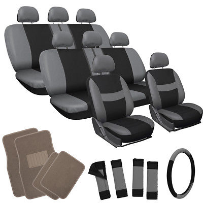 Car Accessories 25pc Set Gray Black Auto VAN Seat Cover Wheel Pads Head Rest + Tan Floor Mats 4D
