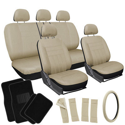Car Accessories 21pc Set Solid All Tan Beige Car Seat Covers Wheel Pad+Head Rest+ Floor Mats 1A
