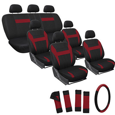 Car Accessories 23pc Full Set Red Black Auto SUV Seat Cover + Steering Wheel-Belt Pads-Head Rest