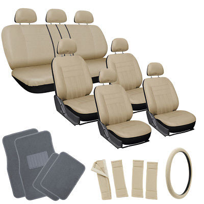Car Accessories 26pc Complete All Tan Beige SUV Auto Seat Cover Set with Gray Carpet Floor Mats
