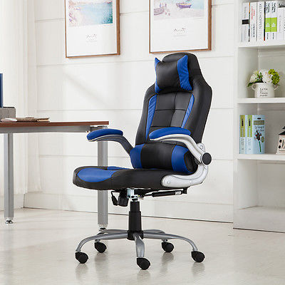 Executive Racing Gaming Chair High Back Reclining PU Leather Chair Blue/Black