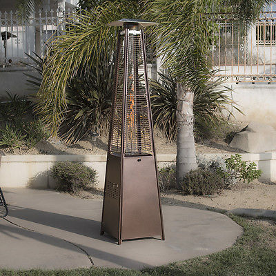 42,000BTU Pyramid Propane Glass Tube Dancing Flames Patio Heater Hammered Bronze