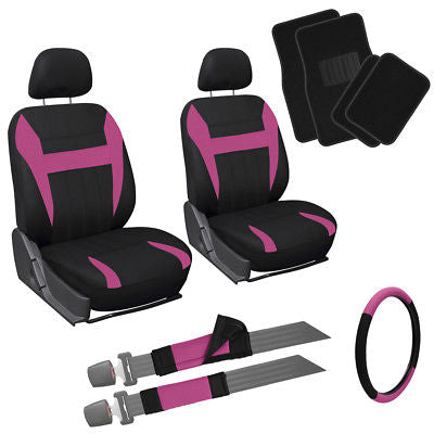 Car Accessories 13pc Front Bucket SUV Seat Covers Set Pink Black Steer Wheel + Floor Mats 1E