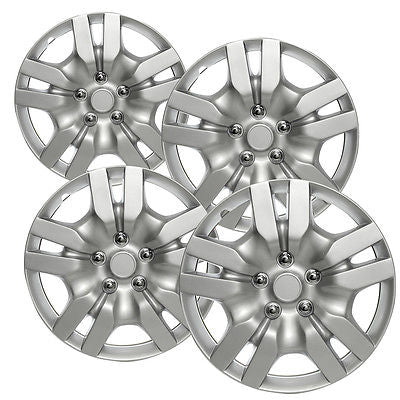 "Car Accessories 4 Pc Set of 16"" Inch Silver Hub Caps Full Lug Skin Rim Cover for OEM Steel Wheel"