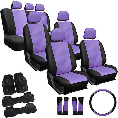 Car Accessories 27pc Set Faux Leather Purple Black Van Seat Covers Bucket Bench Wheel + Mats 4A