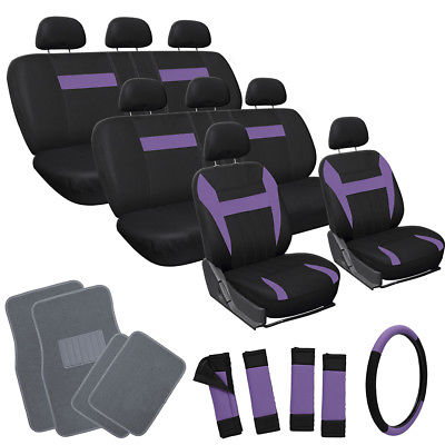 Car Accessories 25pc Set Purple Black VAN Seat Covers Wheel Pads Head Rest + Gray Floor Mats 4B