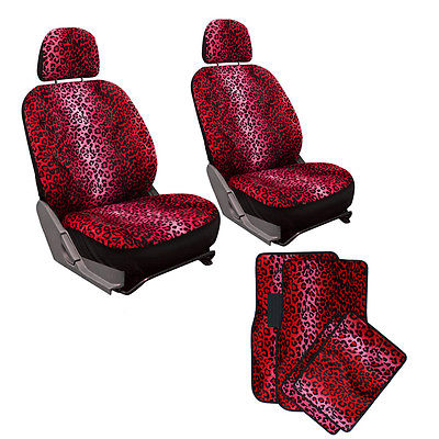 Car Accessories 10pc Full Set Red Leopard Print Van Low Back Buckets Seat Covers Floor Mats 4C