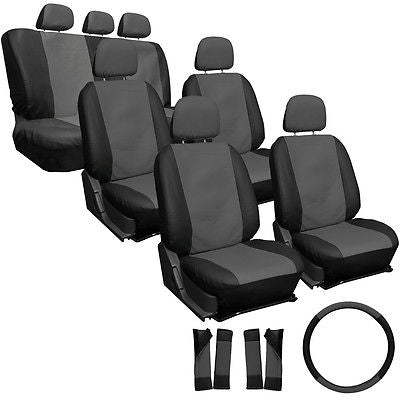 Car Accessories 23pc Set Faux Leather Gray Black VAN Seat Cover Bucket Bench Wheel Head Pads 4B