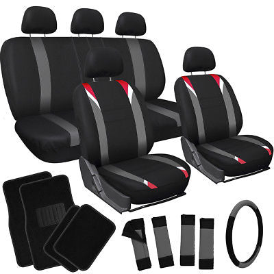 Car Accessories 20pc Set Red Gray Black Auto Car Seat Cover Wheel Pad+Head Rest+ Floor Mats 1B
