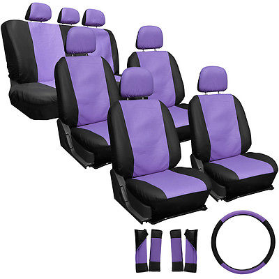 Car Accessories 23pc Set Faux Leather Purple Black SUV Seat Covers Buckets Bench Wheel Head Belt