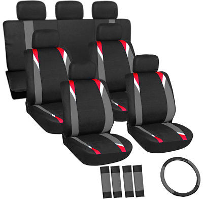 Car Accessories 23pc Set Red Gray Black SUV Seat Covers With Steering Wheel-Belt Pads-Head Rests