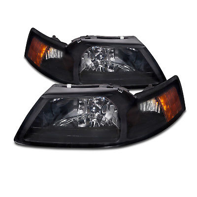 Headlight 99-04 Ford Mustang Black/Smoke Lenses Headlights Headlamps Pair Set W/Xenon New
