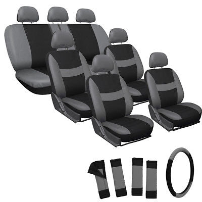 Car Accessories 23pc Full Set Gray Seat Covers For Auto Van Truck SUV W/Steering Wheel Belt Pads