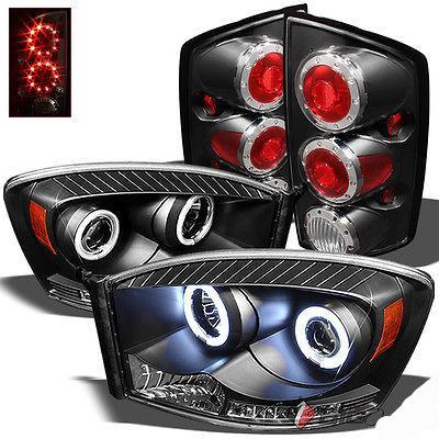 2006 Ram Black Halo Projector Headlights w/DRL LED + LED Ring Tail Lights Combo