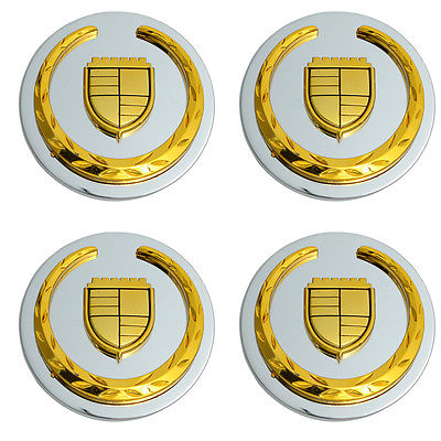 Car Accessories 4 Pc Set Caddy STS/CTS Gold Logo Center Caps Steel Wheels Pop In Hub Cover