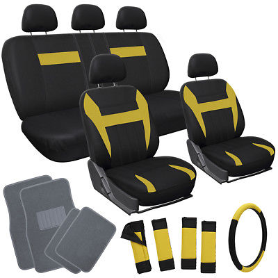 Car Accessories 20pc Set Yellow Black SUV Seat Covers Steering Wheel Cover + gray Floor Mat 3D