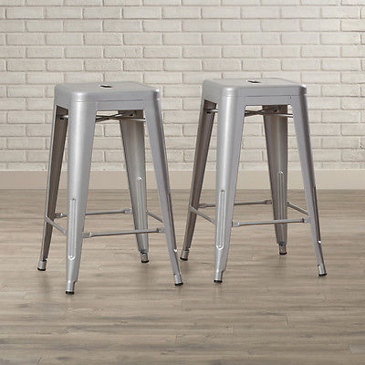 "Set of 2 Metal Bar Stool Counter Height Home 24"", 26"", 30"" inch -Silver/Black"