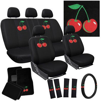 Car Accessories 21pc Red Cherry Cherries Seat Covers Set + Floor Mats Car SUV Truck Van