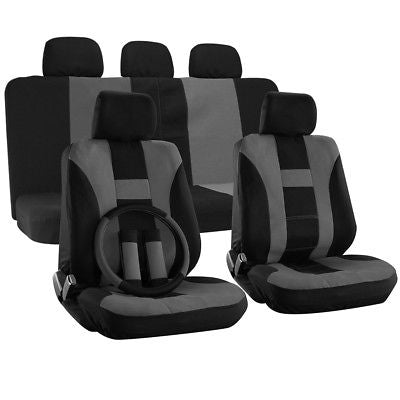Car Accessories Truck Seat Cover for Toyota Tacoma Gray Steering Wheel/Pads/Head Rests H Style