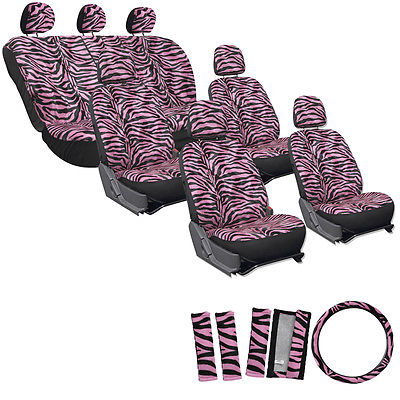 Car Accessories 23pc Pink Zebra Tiger Animal Complete Van Seat Covers Full Set + Head Rest 4C