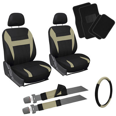 Car Accessories 13pc Front Bucket SUV Seat Cover Set Tan Black Wheel Belt Head Floor Mats 3E