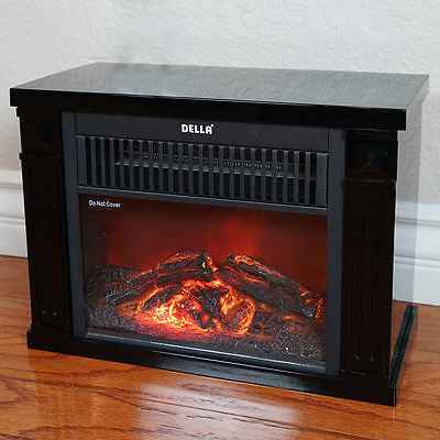 1200W Mini Hearth Portable Fireplace Flame Log Wood Comfort Space Room Warmth