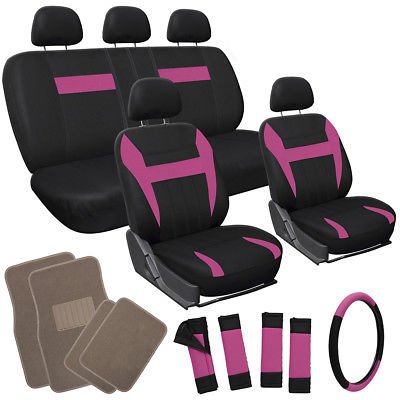 Car Accessories 17pc Set Pink Black Car Seat Covers Wheel+ Belt Pad + Head Rest + Tan Floor Mats