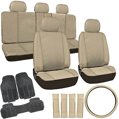 Car Accessories 20pc PU Faux Leather Solid Tan SUV Seat Cover Set + Black Rubber Floor Mats