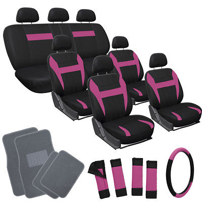 Car Accessories 26pc Complete Pink Black SUV Auto Car Seat Cover Set with Gray Carpet Floor Mats